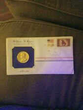 William McKinley Gold Plated Mint Medal With Stamp And Postmark 1984