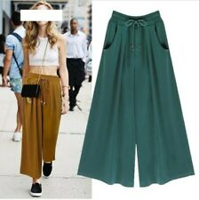 Women Elastic Waist Wide Leg Pants Casual Street Drawstring Trousers Plus Size D