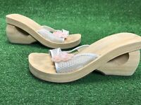 Skechers Women's Sandals Somethin' Else Flip Flop Wedge Size 8 Wood Look Foam