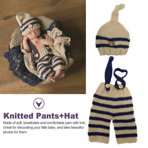 Boys Girls Cute Newborn Photography Props Fashion Striped Knitted Hat Pants Gift