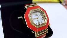 Gossip Quartz Watch Girls Woman Mother of Pearl Face Crystals Coral GOLDENTONE