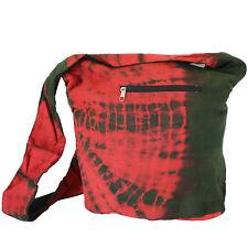 Tasche Batik Beutel Schultertasche Umhängetasche Goa Hippie Tie Dye Rot Grün 8