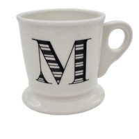 Anthropologie M Monogram Mug Initial Letter Coffee Cup Shaving Stoneware