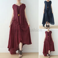 ZANZEA Women Sleeveless Long Maxi Sundress Pleated Ruched Flare A-Line Dress