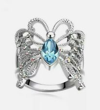 ring. Size 9. Cubic Zirconia New Women's Designer Fashion silver Butterfly