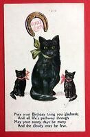 Künstler AK von Juan Tiue ? schwarze Katzen mit Hufeisen    ( 7557