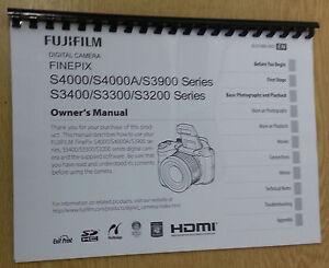 FUJIFILM S4000 3900 3400 3300 3200 PRINTED INSTRUCTION MANUAL USER GUIDE A5