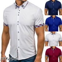 Fashion Men's Summer Casual Dress Shirt Men's Plaid Short Sleeve Shirts Tops Tee
