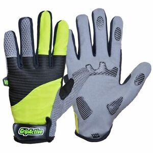 GRIP ACTIVE BICYCLE CYLE FULL FINGER SHOCK ABSORBENT GLOVES FITNESS  - YELLOW