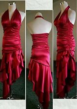 Jrs Red Satin Halter Bodycon Tiers Aysmetrical Formal Dress XS Marilyn Monroe