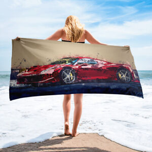 Red Ferrari Car Auto Themed Bath or Beach Towel