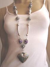 Modekette lang Damen Hals Kette Lagenlook Modeschmuck Silber Lila Herz R36