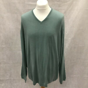 Mens Size XXL Marks And Spencer Green Soft Touch V Neck Jumper Casual NEW