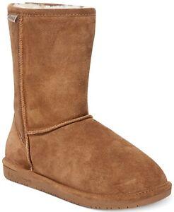 Bearpaw Emma Short Suede Boots, Sheepskin / Wool Lining, Hickory, 5 M