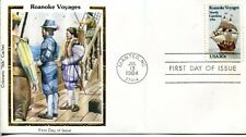 US FDC Scott #2093 Roanoke Voyages. Colorano Silk Cachet. Free Shipping.