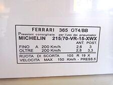 Ferrari Berlinetta Boxer 365 GT4/BB Neumáticos Ventana Pegatina Del Parabrisas Asesoramiento