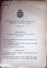 1895/718 Regio Decreto che dà al ginnasio d'IMOLA il nome Benvenuto (Rambaldi)