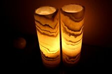 2 Cylinders Stone Table Lamps Onyx/alabaster BEAUTIFUL !