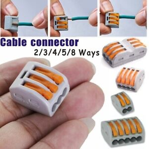 60PCS Quick Reusable Spring Lever Terminal Block Cable Connector Wire 2/3/4/5Way