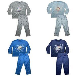 Boys Kids Pyjamas Long Sleeve Top Bottom Set Nightwear PJs Space Cotton New 2-12