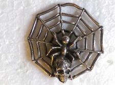 "(#J9125) SPIDER ON WEB with SKULL Pewter Vest / Hat Pin 1.25"" x 1.25"" Biker Pin"