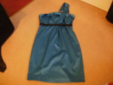 BNWT ladies RIVER ISLAND turquoise teal one shoulder dress size 8 FREE POSTAGE