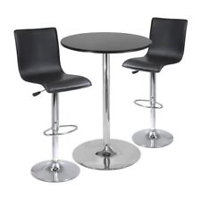 Winsome 3pc Pub Table Set, 28' Round Table with 2 L-Shape Airlift Stools