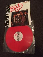 "Michael Jackson-BAD-12"" Red Vinyl Epic-651100 6-UK-1987-VG+ Condition"