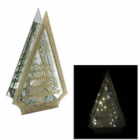 Christmas Battery Operated Light up Glass Decoration - Tree Gold or Silver