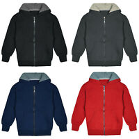 Kids Sherpa Lined Fleece Full Zip Up Hooded Sweatshirt Jacket