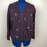 Eddie Bauer Womens Sweater Size XXL 100% Cotton Floral Embroidered Purple V Neck