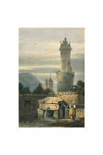 Round Tower, Andernach after Samuel Prout – Miniature c.1830s watercolour