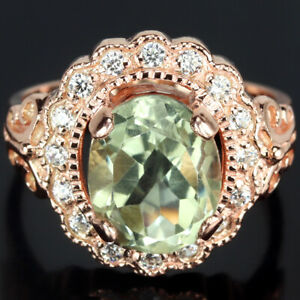 GENUINE AAA GREEN AMETHYST OVAL & WHITE CZ STERLING 925 SILVER FLOWER RING 8