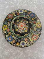 """Vintage Floral Round Tin Embossed Made In Holland 8.5"""""""