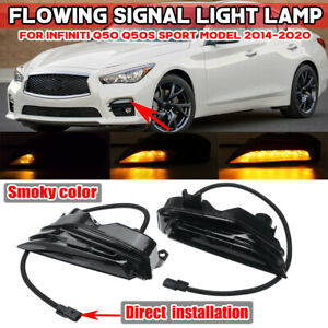 For Infiniti Q50 Q50S Sport 2014-2020 Front Sequential LED Turn Signal Fog Light