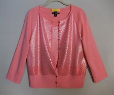 NEW ST JOHN 2pc SP 10 GRP 2, 3 Paillettes Wool/Rayon Twin Cardigan/Top Set M