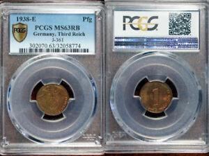 1938-E Germany Pfennig PCGS MS63 RB