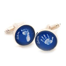Glass Baby Hand or Foot Print Cufflinks - Personalised 1st Father's Day Gift