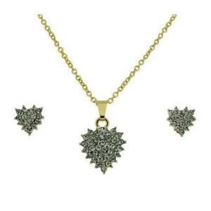 The Olivia Collection Ladies Clear Rhinestone Heart Pendant & Earrings Gift Set