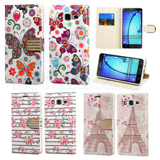 For Samsung Galaxy On5 550 Leather Stand BLING Flip Card Wallet Case Cover Pouch
