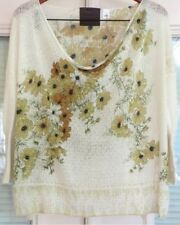 GUINEVERE Anthropologie $98 Linen Pierced Boxy Draped Floral Sweater Top S EUC