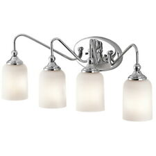 Chrome And Satin Etched Glass 4 Light Bath Wall Fixture Orig $237