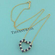TIFFANY & Co. 18K Gold Sapphire Diamond Heart Pendant Necklace