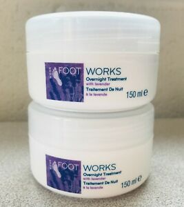 2 x 150ml AVON Footworks Overnight Treatment Cream with Lavender NEW