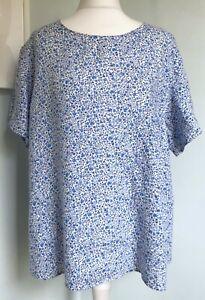 LIBERTY London for Uniqlo Blue Ditsy Floral Print Linen Top Sz L UK 14 Loose Fit
