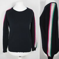 Mint Velvet Rainbow Stripe Sleeve Jumper Size 8 Black Cotton Cashmere Blend