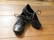 Born Womens Walking Shoes Black Leather Lace Up Flats Size 37 US 6.5 EUC Clean!