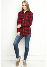 brandy melville vintage inspired red/black plaid wylie New York Flannel top OS