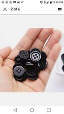 GANSSIA 5/8 Inch Button 15mm Sewing Flatback Buttons Colored Black Pack of 160