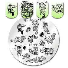 Round Nail Stamping Plate Tiger Fox Parrot Nail Art Image Plate DIY Born Pretty